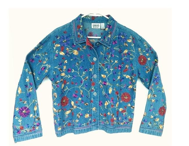 Item - Denim Blue Embroidered Jacket Size 12 (L)