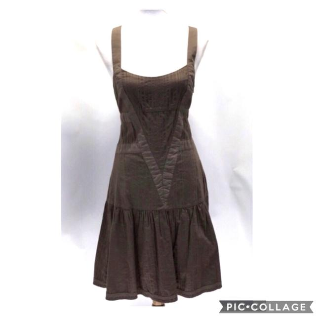 Item - Brown Sleeveless Cotton Boho Mid-length Short Casual Dress Size 10 (M)