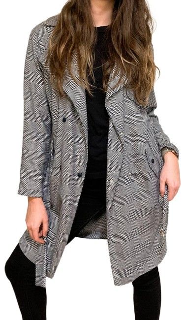 Item - Gray Prince Of Wales Check Lightweight Coat Size 2 (XS)