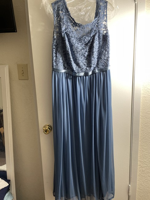 Item - Steel Blue Rayon and Polyester Long with Ribbon Waist Modern Bridesmaid/Mob Dress Size 18 (XL, Plus 0x)