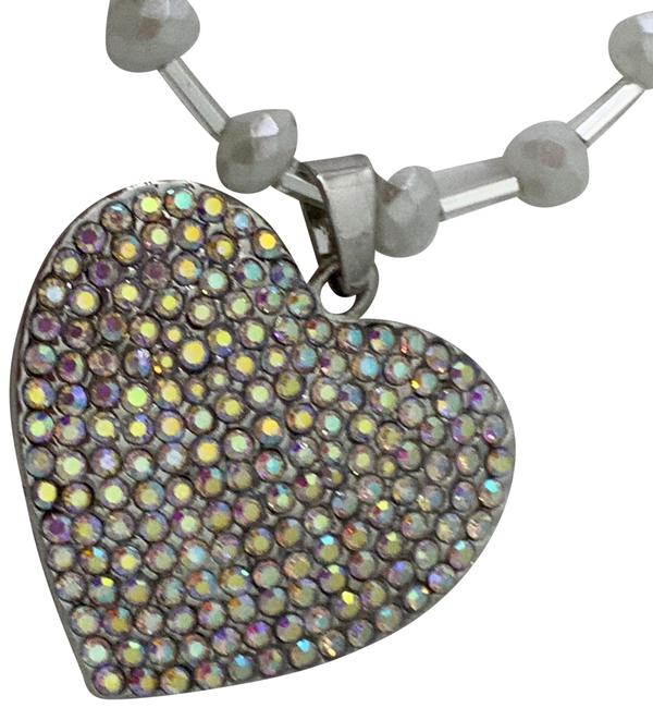 Betsey Johnson Silver Rhinestoned Heart with Swarovski Chain Necklace Betsey Johnson Silver Rhinestoned Heart with Swarovski Chain Necklace Image 1