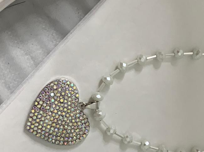 Betsey Johnson Silver Rhinestoned Heart with Swarovski Chain Necklace Betsey Johnson Silver Rhinestoned Heart with Swarovski Chain Necklace Image 3