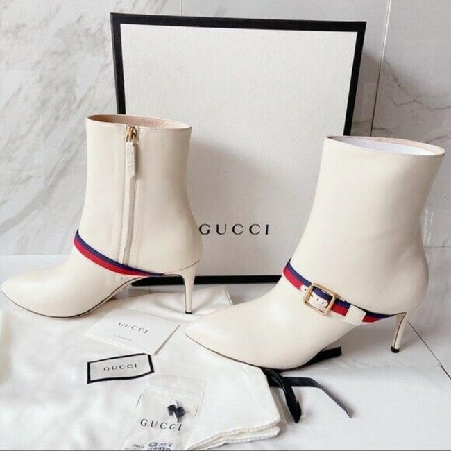 Gucci White Sylvie Strap Ankle Pointed Toe Lace Leather Eu Boots/Booties Size US 11.5 Regular (M, B) Gucci White Sylvie Strap Ankle Pointed Toe Lace Leather Eu Boots/Booties Size US 11.5 Regular (M, B) Image 2