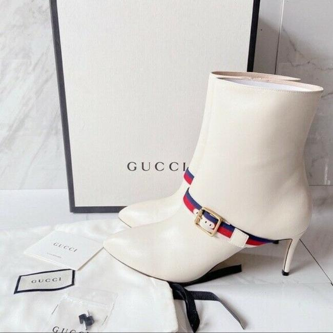 Gucci White Sylvie Strap Ankle Pointed Toe Lace Leather Eu Boots/Booties Size US 11.5 Regular (M, B) Gucci White Sylvie Strap Ankle Pointed Toe Lace Leather Eu Boots/Booties Size US 11.5 Regular (M, B) Image 3