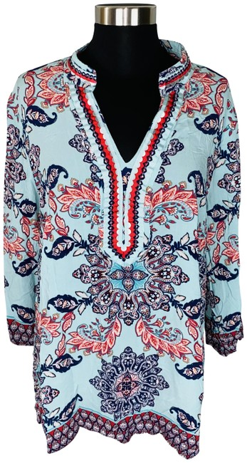 Charter Club Multicolor Aqua Blue Paisley Print Beaded & Sequined Tunic Size 20 (Plus 1x) Charter Club Multicolor Aqua Blue Paisley Print Beaded & Sequined Tunic Size 20 (Plus 1x) Image 1