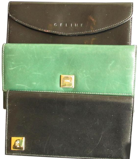 Item - Black and Green Three Long Large Leather Wallet