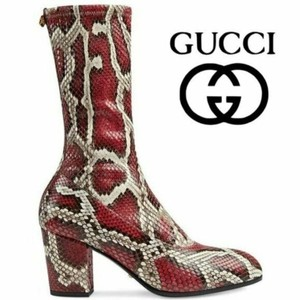 Gucci Red Gray Python Heel Calf Sock Ankle Zip Leather 36 Boots/Booties Size US 6 Regular (M, B)
