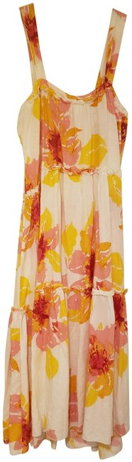 Item - White/Red/Pink/Yellow Tropical Print Midi Mid-length Casual Maxi Dress Size 6 (S)
