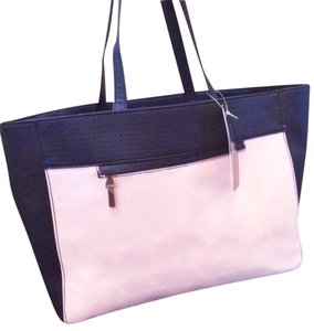 French Connection Canvas Leather Beach Shopping Color Handbag Classic Tote in Dusty Pink & Black