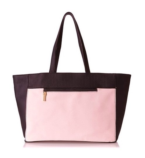 French Connection Canvas Leather Shopping Color Blocked Handbag Purse Classic Tote in Dusty Pink & Black