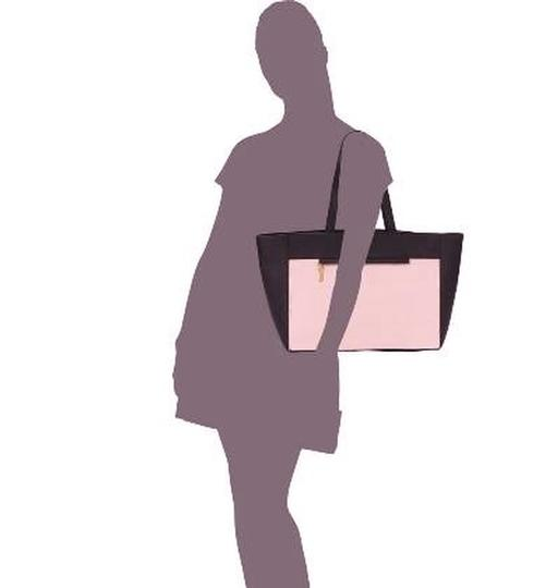 French Connection Canvas Leather Shopping Color Blocked Hand Purse Classic Tote in Dusty Pink & Black