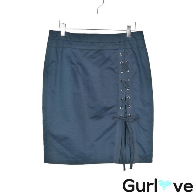 Item - Blue Linen Laced Up Skirt Size 8 (M, 29, 30)