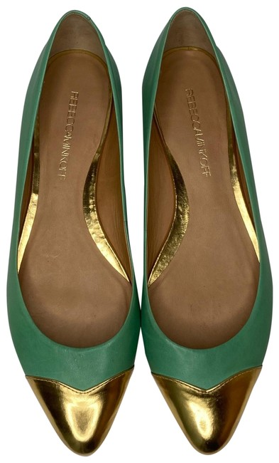 Item - Gold and Green Irma Flats Size US 9 Regular (M, B)