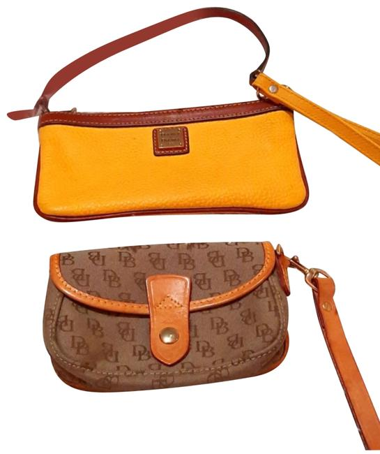 Item - Yellow Brown Leather Canvas Wristlet