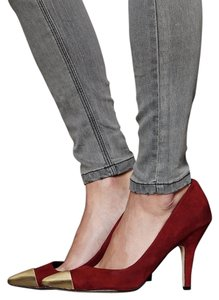 Dolce Vita Gold Tipped Oxblood Red Suede burgundy Pumps