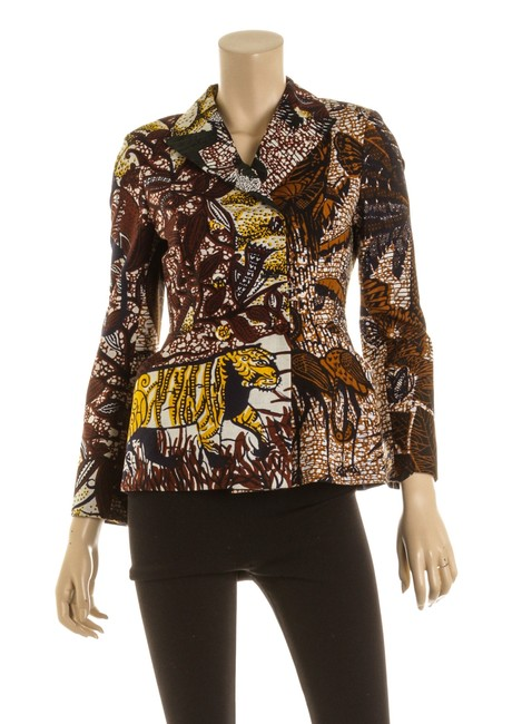 Item - Brown & Burgundy Oqs 501386 Printed Double Breasted Blazer Size 2 (XS)