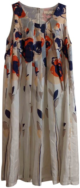Item - Blue and Red Florals White Silk Mid-length Short Casual Dress Size 4 (S)