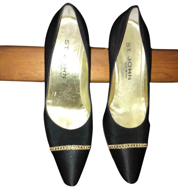 Item - Black / Gold Trim Satin Pump Sneakers Size US 7.5 Regular (M, B)