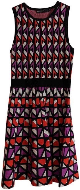 Item - Purple Red and White Prints Knitted Mid-length Short Casual Dress Size 4 (S)