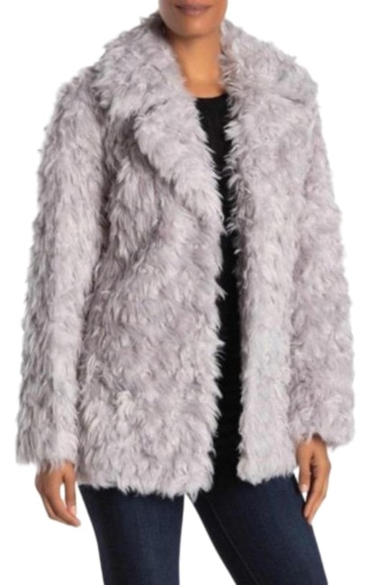 Item - Silver Gray Notch Collar Curly Faux-fur Jacket Coat Size 8 (M)