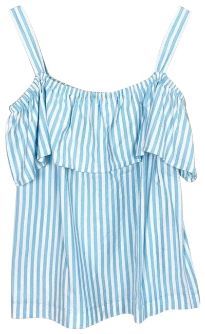 J.Crew Blue XS Striped Cold Shoulder White Blouse Size 2 (XS) J.Crew Blue XS Striped Cold Shoulder White Blouse Size 2 (XS) Image 1