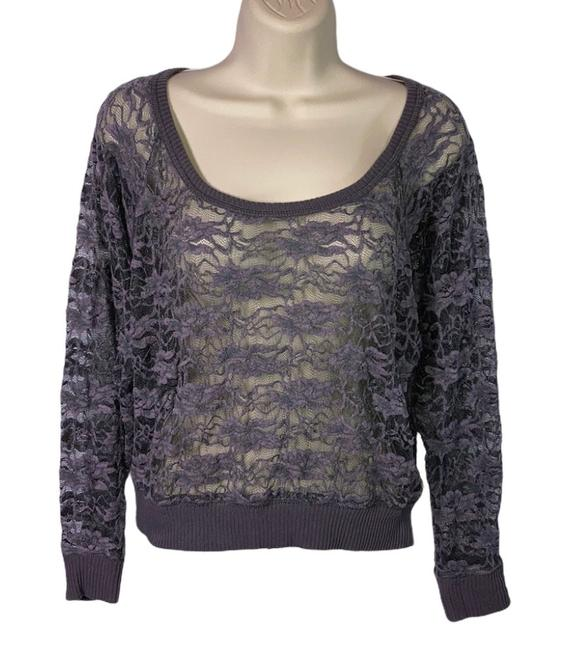 Item - Sheer Lace Knit Gray Sweater