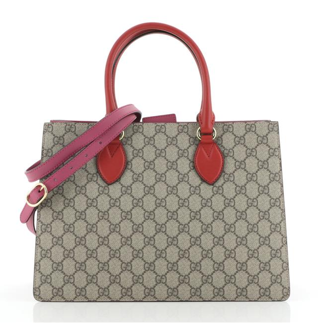 Item - Convertible Gusset Gg Coated Medium Brown Purple Red Canvas Tote