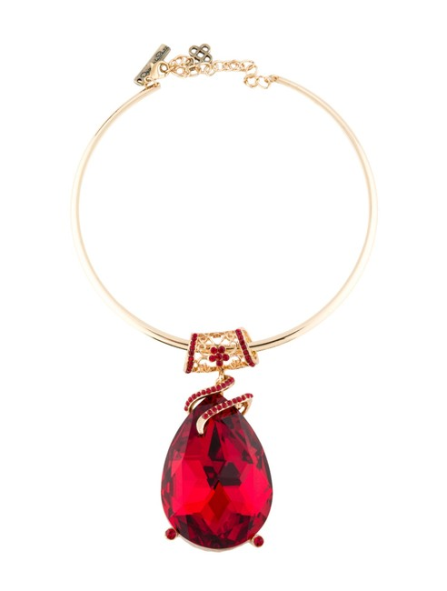 Item - Gold Red Crystal Pendant Collar Necklace