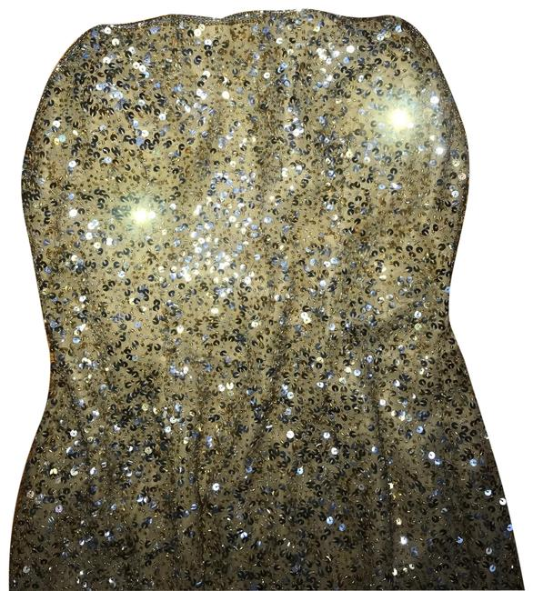 Item - Gold Silver Strapless Sequin Maxi Long Cocktail Dress Size 6 (S)