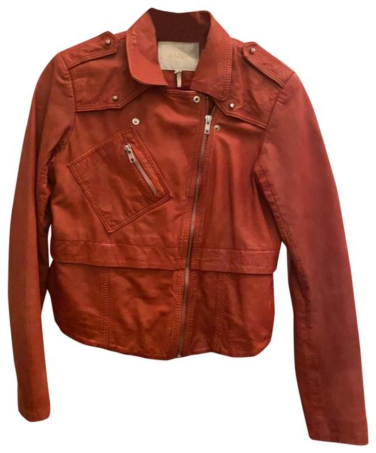 Item - Red Distressed Leather Moto Jacket Size 4 (S)