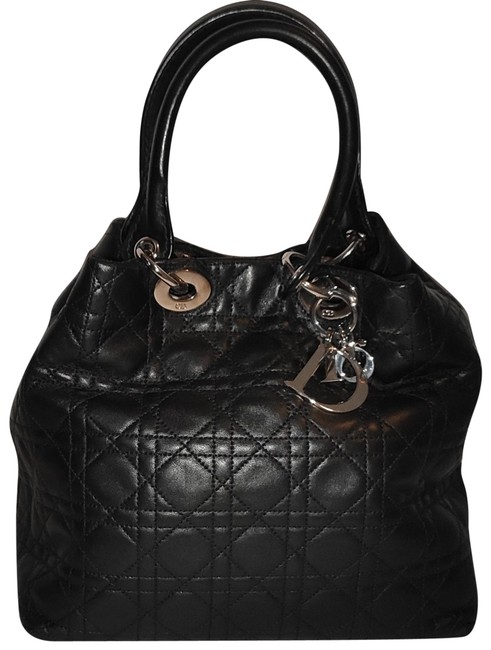 Item - Lady Black Lambskin Leather Tote