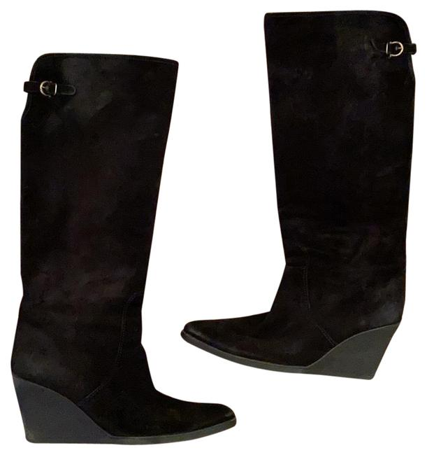 Item - Black Tall Suede Wedge Boots/Booties Size US 9.5 Regular (M, B)
