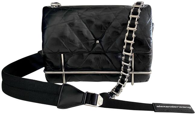 Item - Halo Metal Cage Quilted Black Leather Cross Body Bag