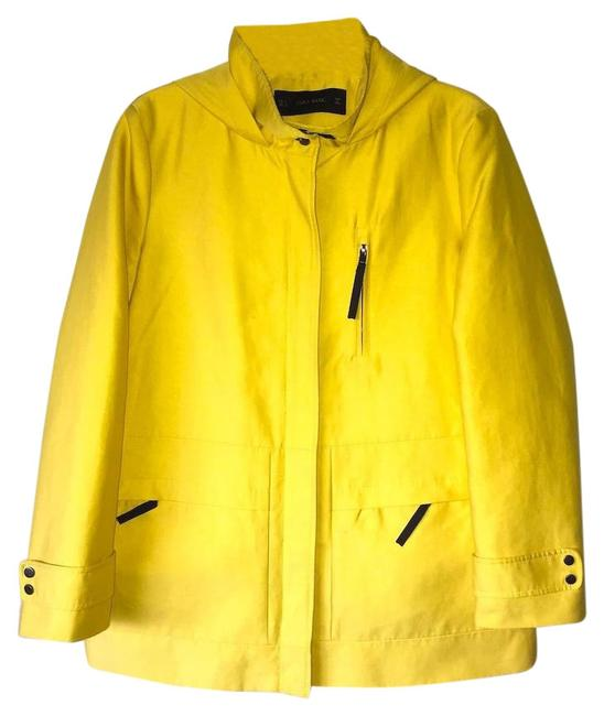 Item - Yellow Basic Hooded Parka Jacket; Sipper Chest Pocket Coat Size 14 (L)