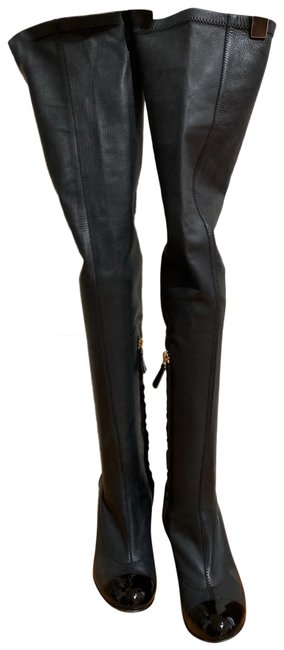 Item - Balck Leather Thigh-high with White Heel and Chain Detail Boots/Booties Size EU 35 (Approx. US 5) Regular (M, B)