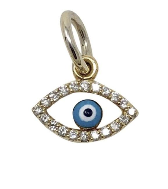 Item - Gold 18k Yellow Evil Eye Or Pendent with Diamonds Charm