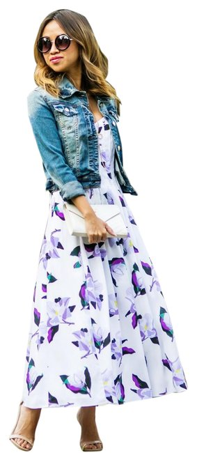 Item - White and Purple Floral Long Casual Maxi Dress Size 0 (XS)