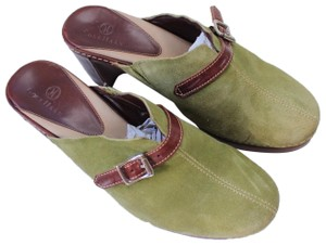 Cole Haan green/brown Mules