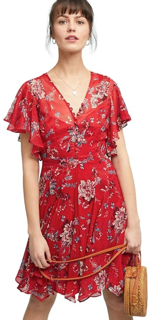 Item - Anthropologie Keira Floral Red Short Casual Dress Size 2 (XS)