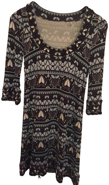 Item - Gray/Blue/Brown/Cream Short Night Out Dress Size 0 (XS)