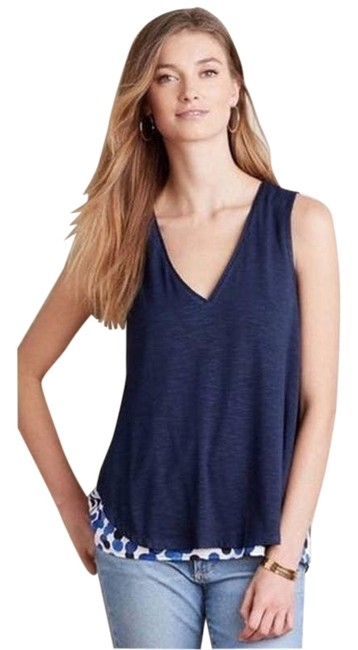 Item - Blue Anthro Deletta Weekdays Polka Dot Layered Tank Top/Cami Size 6 (S)
