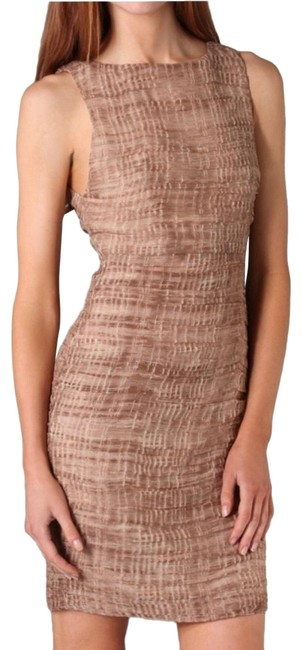 Item - Brown Ginger Ruched Short Cocktail Dress Size 6 (S)