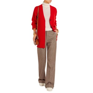 Item - Red Cashmere Ribbed Sweater Cardigan