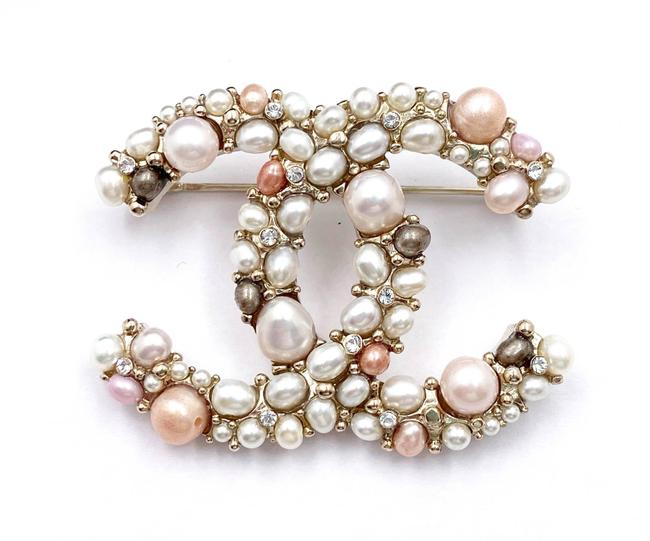 Item - Pink Gold Cc Tone Freshwater Pearl Brooch