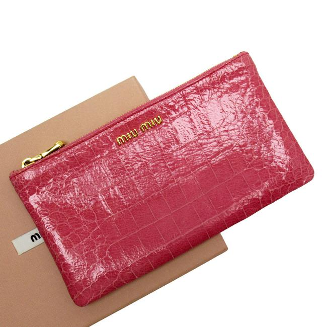 Item - Pouch Multi Case Ladies Gold / Pink Leather Clutch