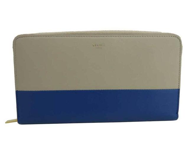 Item - Blue / Light Brown Large Zip Leather Long Round Zipper Women Wallet