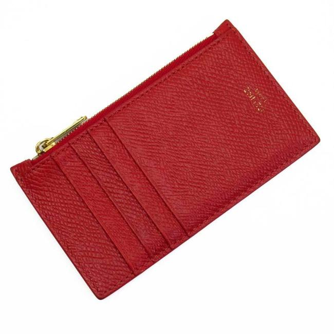 Item - Gold / Red Color Coin Case Card Leather Ladies Wallet