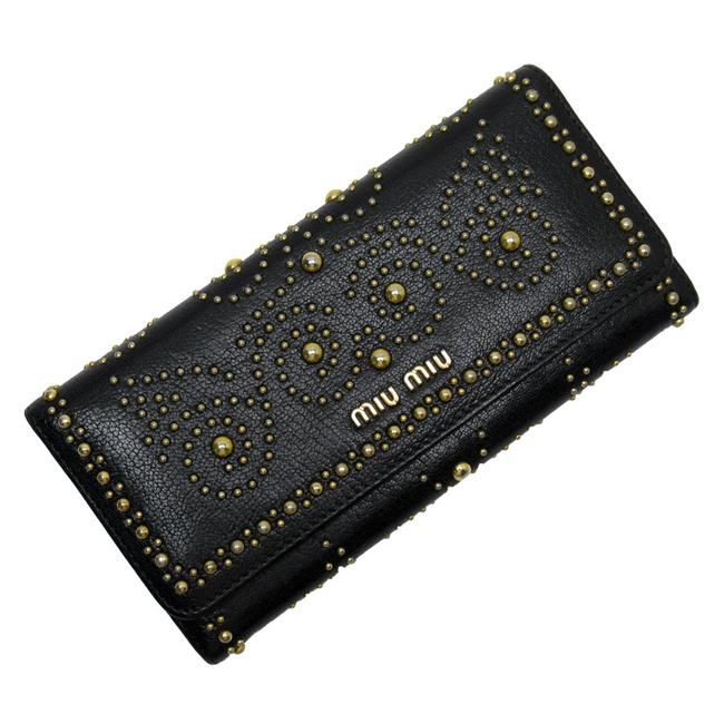 Item - Black / Gold Bi-fold Leather Studs Ladies Wallet