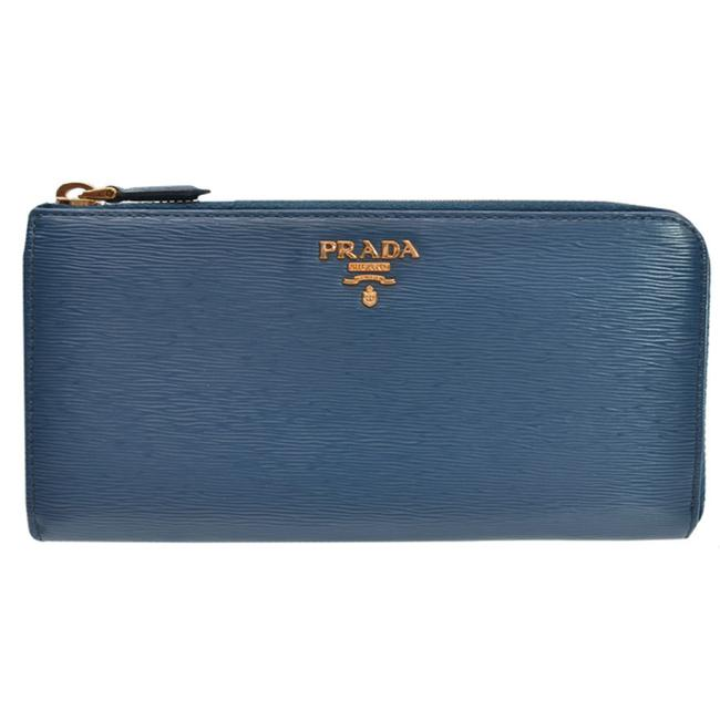 Item - Gold / Navy Long Leather L-shaped Fastener Ladies Wallet