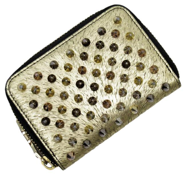Item - Gold Coin Case Panettone Spike Studs Leather Ladies Wallet